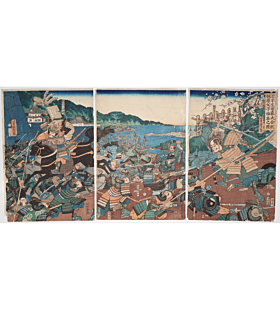 Yoshitora Utagawa, The Great Battle of the Forest of Ikuta, Notable Accomplishments of Kajiwara Family