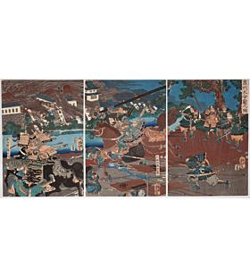 yoshitora utagawa, The Great Battle of Oshu, warrior, samurai