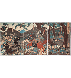 yoshikazu utagawa, The Great Battle of Koromogawa, Oshu, samurai battle, japanese history