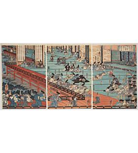 kuniyoshi utagawa, Minamoto no Yoshitsune Meeting Fujiwara no Hidehira and his son at Hiraizumi