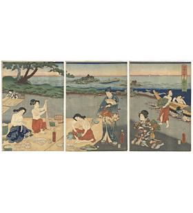 Toyokuni III Utagawa, Genji-e, Ama Divers Making Dried Abalones, Ise Province