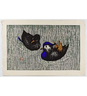 Kaoru Kawano, Mandarin Ducks, sosaku-hanga, birds