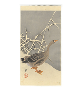 koson ohara, goose in the snow, bird, kacho-ga, nature, winter