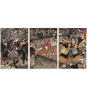 yoshitora utagawa, The Night Attack at Kumasaka, Mino Province, ushiwakamaru, minamoto no yoshitsune