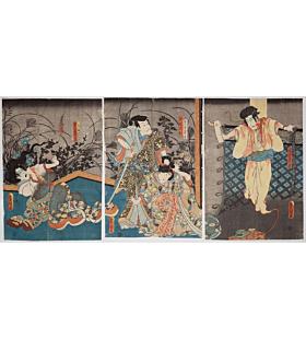 toyokuni III utagawa, Kabuki Play, Higashiyama Sakura Zoshi, ghost story, haunting