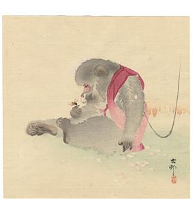 koson ohara, Seated Monkey Watching a Ladybug