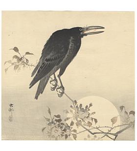 koson ohara, crow and moon, bird and flower