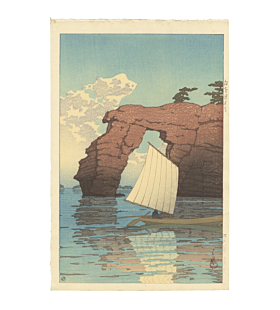 japanese woodblock print, japanese antique, landscape, boat, sea, kawase hasui