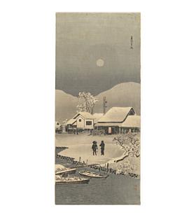 japanese woodblock print, japanese artwork, winter landscape