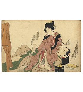 shunga, erotic print, erotica, spring pictures, floating world, utamaro school, edo period
