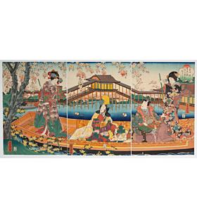 yoshitora utagawa, boat trip, tale of genji