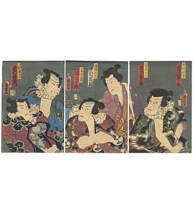 kuniaki utagawa, otokodate, kabuki actors, tattoo design, irezumi