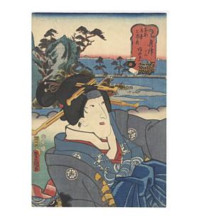 toyokuni III Utagawa, okitsu, tokaido road, kabuki actor, japan travel