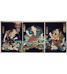 kuniteru II utagawa, Sumo Wrestlers seen as Generals in the Three Kingdoms