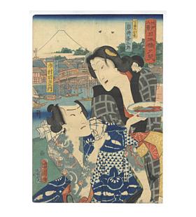 Kunichika Toyohara, Evening Glow at Nihonbashi, Eight Views of the Edo
