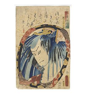 toyokuni III utagawa, Danshichi Kurobei / Nakamura Fukusuke I, kabuki actor in the mirror, tattoo design, irezumi