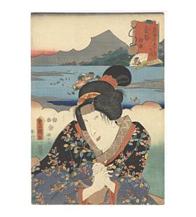 toyokuni III utagawa,  Kanaya / Asagao, tokaido road, travel in japan, kabuki theatre actor