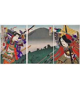 kunichika toyohara, Kabuki Play, Shizugatake Shinsho Taikoki, theatre actors
