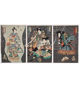 yoshitora utagawa, kabuki play, japanese art, japanese woodblock print, ukiyo-e, antique, edo period