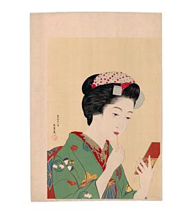 japanese woodblock print, japanese antique, shin-hanga, ukiyo-e, kimono design, make-up, portrait, goyo hashiguchi