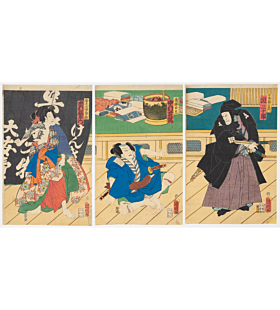 kuniaki I utagawa, Kabuki Play, Shiranami Goninotoko, tattoo design, irezumi