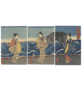 hisakuni utagawa, beauties at enoshima island, landscape, kimono fashion