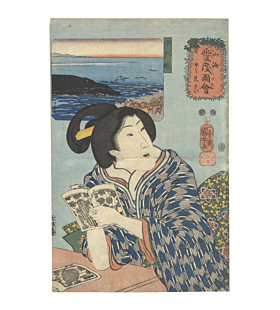 kuniyoshi utagawa, beauty, whale