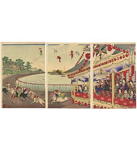 Chikanobu Yoshu, Meiji Emperor, Ueno Race Course, Ukiyo-e, Horse, Original Japanese woodblock print