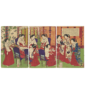 Kuniaki II Utagawa, Empress Making Gifts for Wounded Soldiers, meiji period
