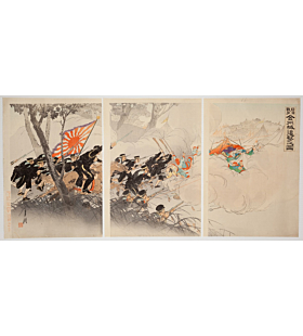 gekko ogata, Jingzhou Castle Pursuit (日清戦争金州城追撃之図), sino-japanese war