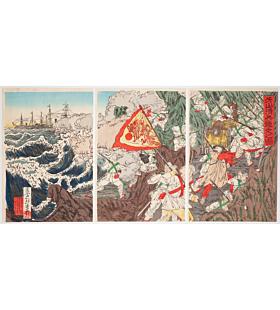toshisue shinsai, Chinese Army Fleeing at Asan(牙山清兵遁走之図),  First Sino-Japanese War