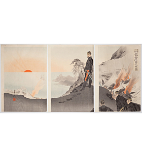 gekko ogata, Troops Encamped in the Mountains Near Port Arthur Honour the Rising Sun(旅順山間に露営将士日光を拝す図), sino-japanese war