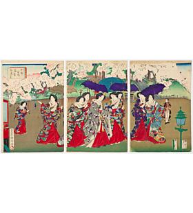 kunichika toyohara, Noble Ladies Enjoying Cherry Blossoms Viewing at Ueno Park