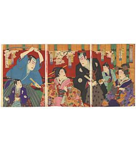 kochoro,utagawa kunisada III, kabuki theatre, actors, kabukiza, japanese actors, japanese design, meiji era