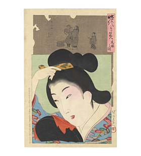 chikanobu yoshu, Portrait of a woman around Genroku era (1688 - 1704) and the picture of cleaning earwax, mirror of the ages