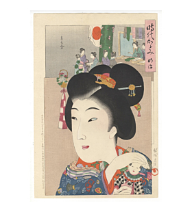 chikanobu yoshu, Portrait of a young woman around Meiji period (1868-1913) and picture of a charity gathering, mirror of the ages