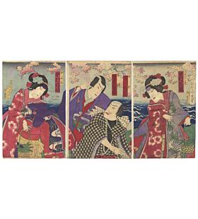 chikanobu yoshu, kabuki theatre, kabuki actors, kimono, japanese design, sakura, cherry blossoms