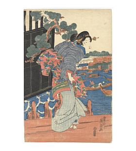 japanese kimono, beauty print, river bank, kimono pattern, landscape, eisen keisai