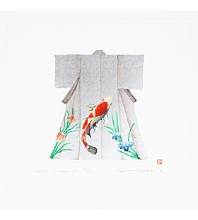 kunio kaneko, contemporary art, kimono design, japanese fashion, gold fish, koi fish, japanese iris, silver pigment