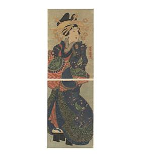 original japanese woodblock print, high-rank courtesan, kimono design, edo period, bijin-ga, japanese art