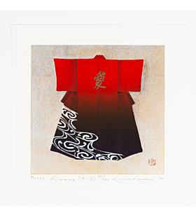 japanese woodblock print, kimono fashion, red, japanese contemporary art, love