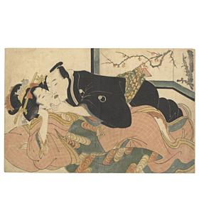 eisen keisai, abuna-e, japanese woodblock print, sakura, kimono, courtesan