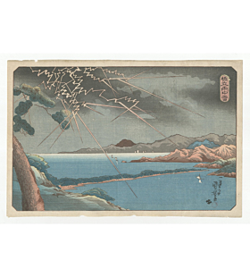 kuniyoshi utagawa, landscape, rain, thunder, boats, hashidate
