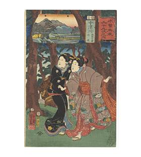 kuniyoshi utagawa, kisokaido road, travel in japan, edo period, japanese story