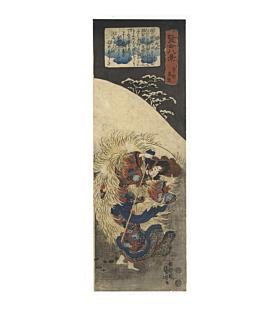 kuniyoshi utagawa, shizuka gozen, snow scene