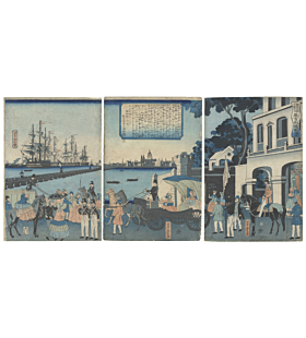 london, river thames, landscape, st paul cathedral, london bridge, yoshitora utagawa