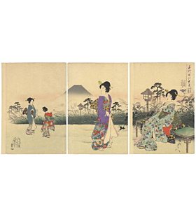 chikanobu yoshu, mount fuji, kiono design, chiyoda palace, japanese woodblock print