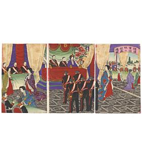 meiji era, meiji emperor, celebration, army, navy