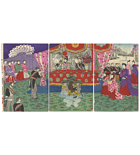 festival at meiji court, celebration, meiji emperor, court ladies