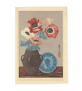 mokuchu urushibara, flower print, poppies